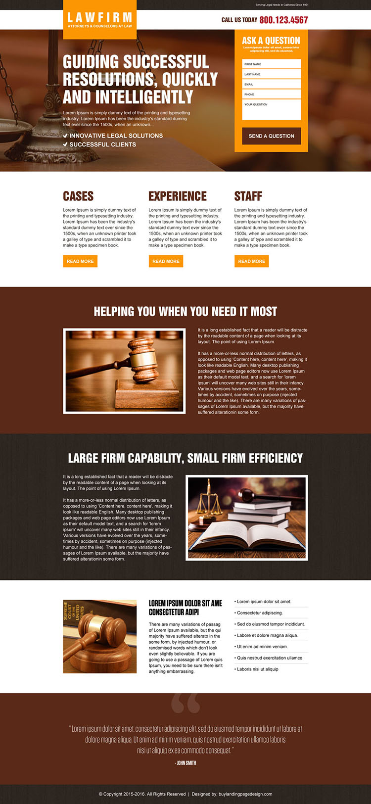 best law firm lead gen landing page design template