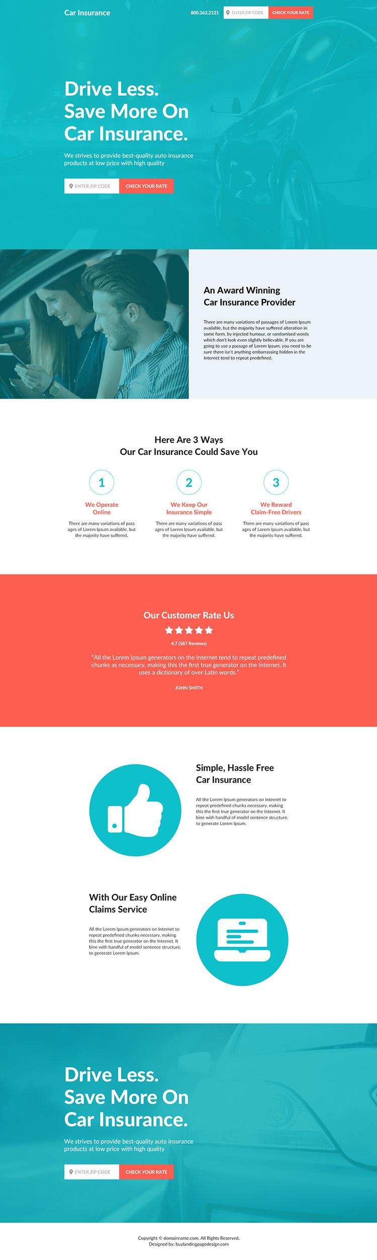 car insurance responsive landing page design