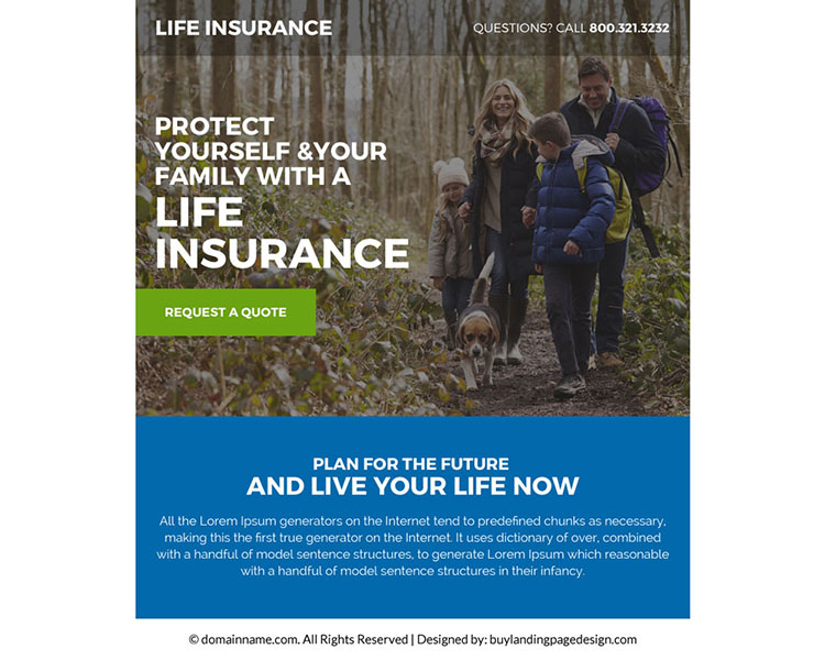 best life insurance policy ppv landing page design