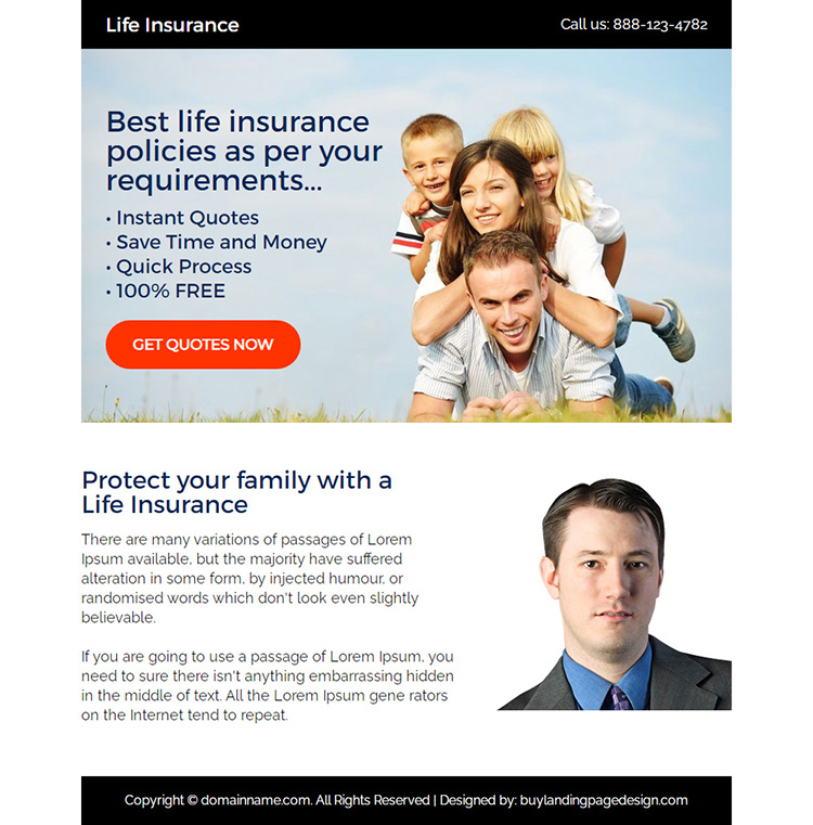 best life insurance free quotes ppv landing page design