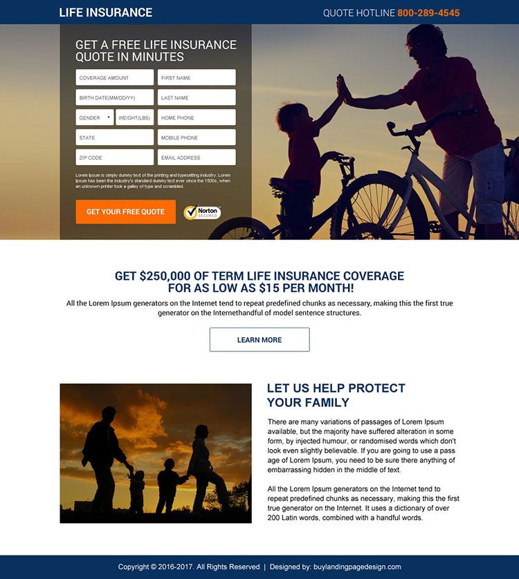best life insurance quotes mini landing page design