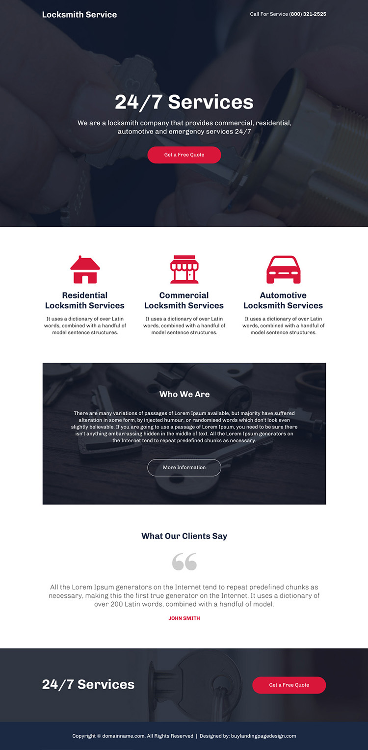 best locksmith service mini responsive landing page design