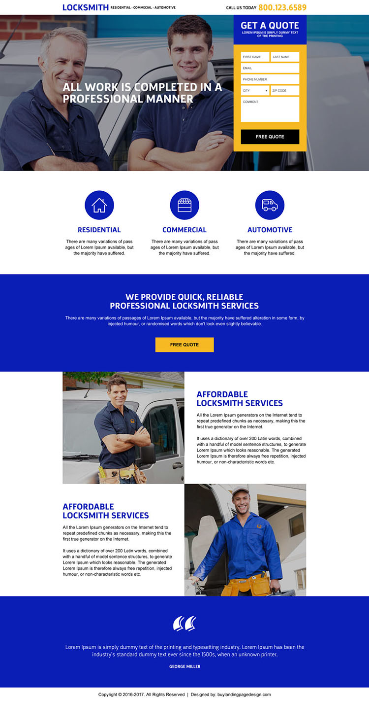 best locksmith service free quote landing page design