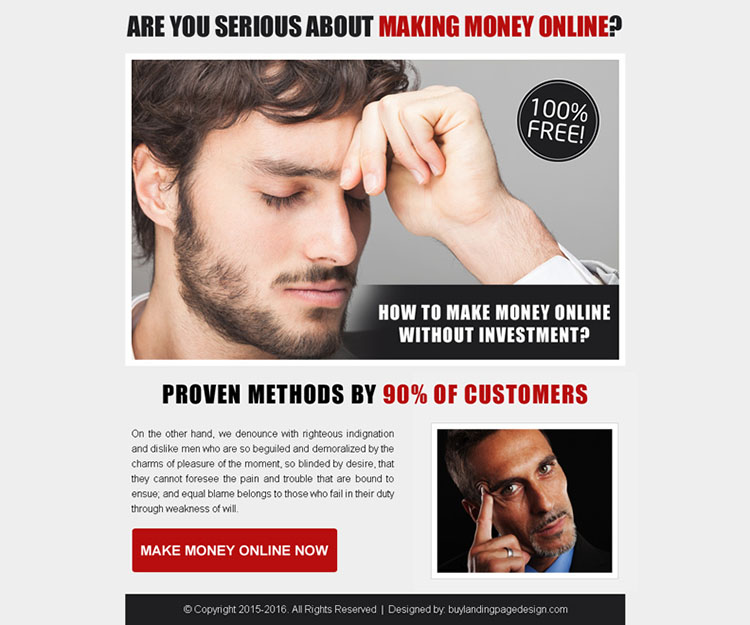 best make money online call to action ppv landing page design