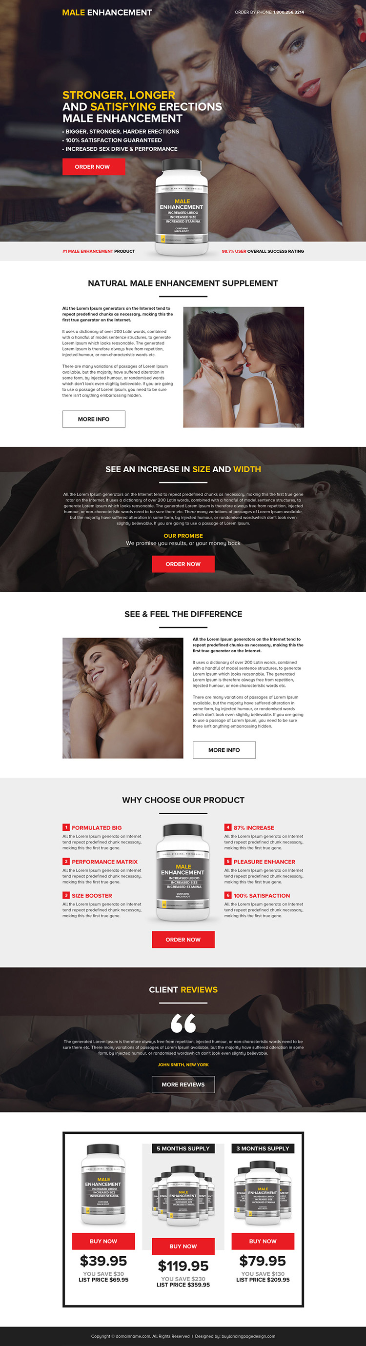 best male enhancement pills selling landing page design