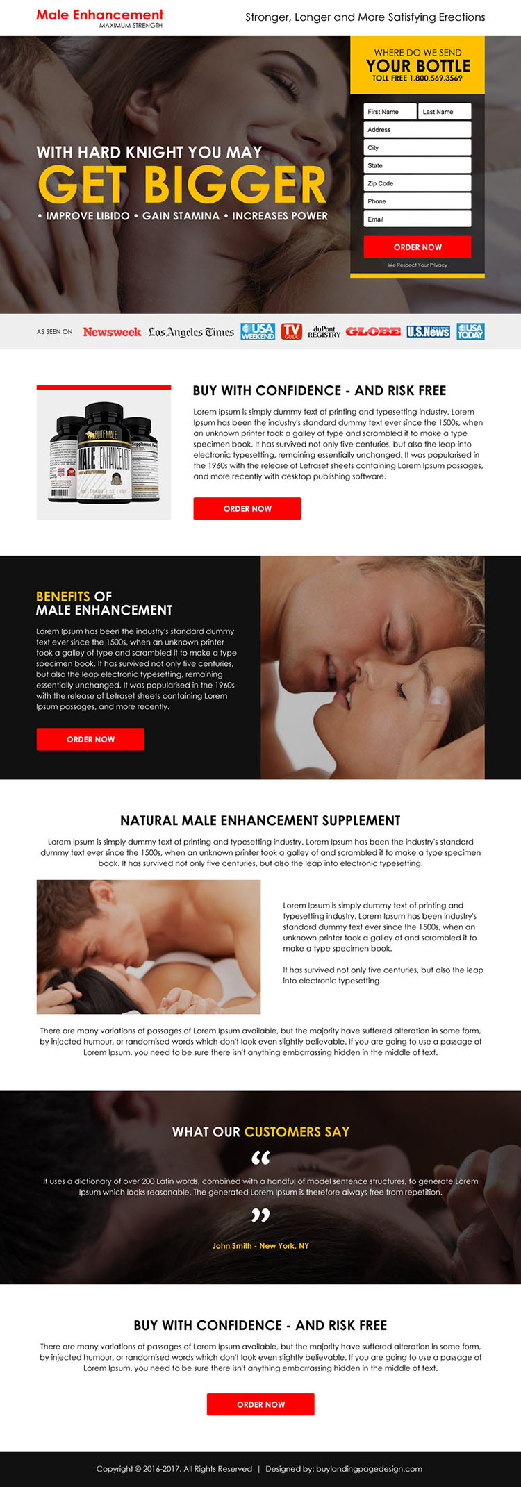 male enhancement product selling responsive landing page