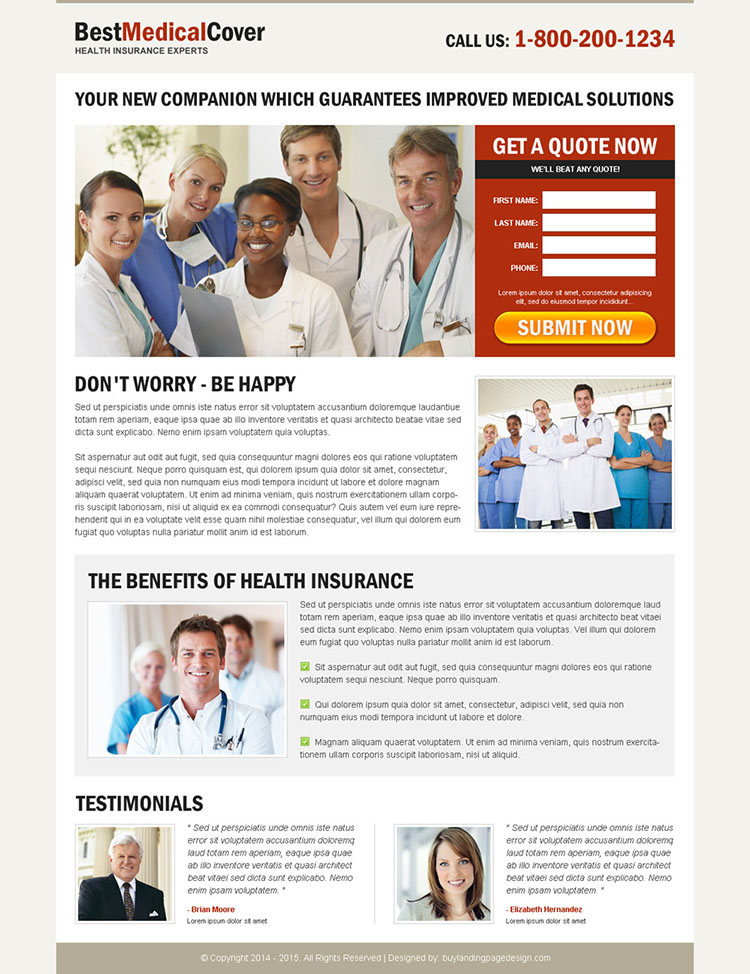 best medical cover optimized and converting squeeze page design