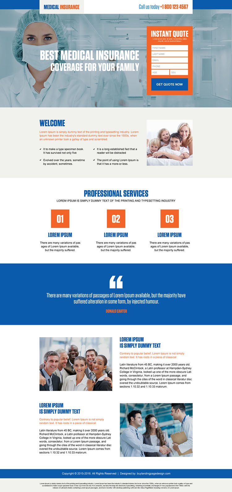 best medical insurance coverage for family lead magnet landing page design