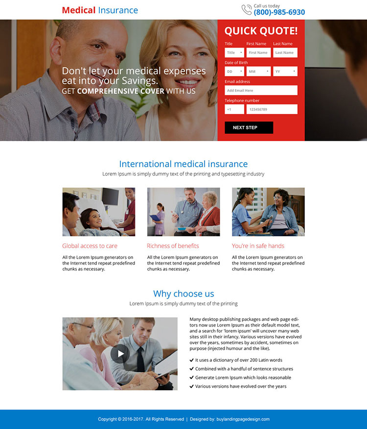 best medical insurance responsive mini landing page design
