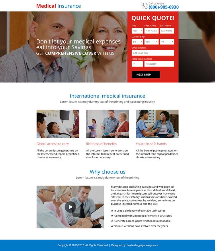 best medical insurance responsive mini landing page design