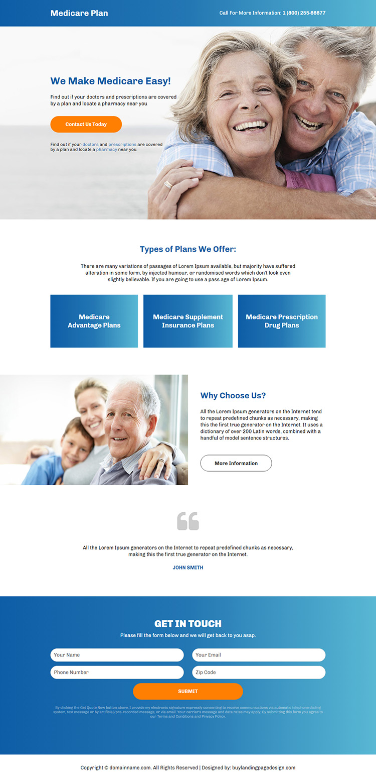 best medicare plan call to action responsive landing page