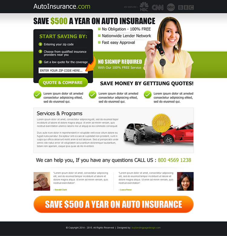 save money on your auto insurance effective lead capture landing page design