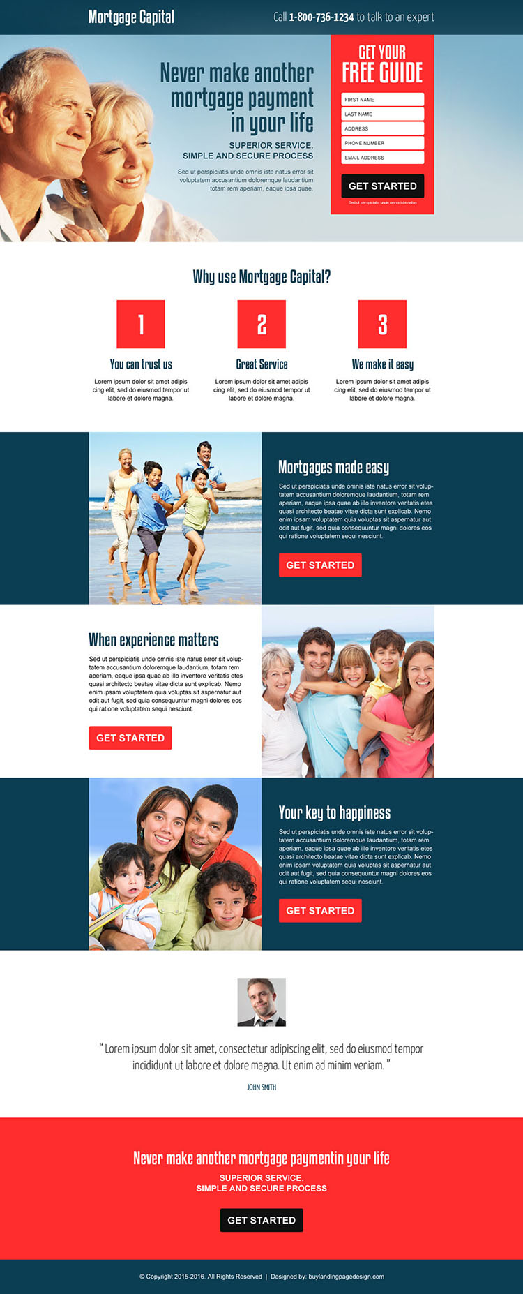 best mortgage free quote lead gen landing page design