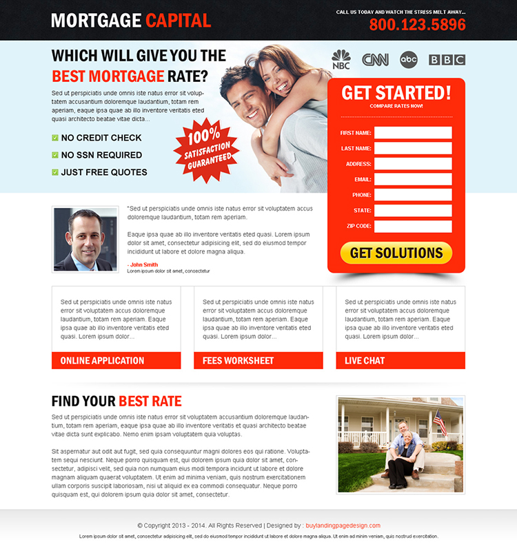 Best mortgage quote lead capture lp 07 mortgage landing for Free lead capture page templates
