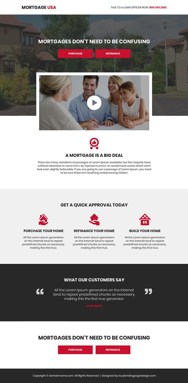 mortgage service video responsive landing page design