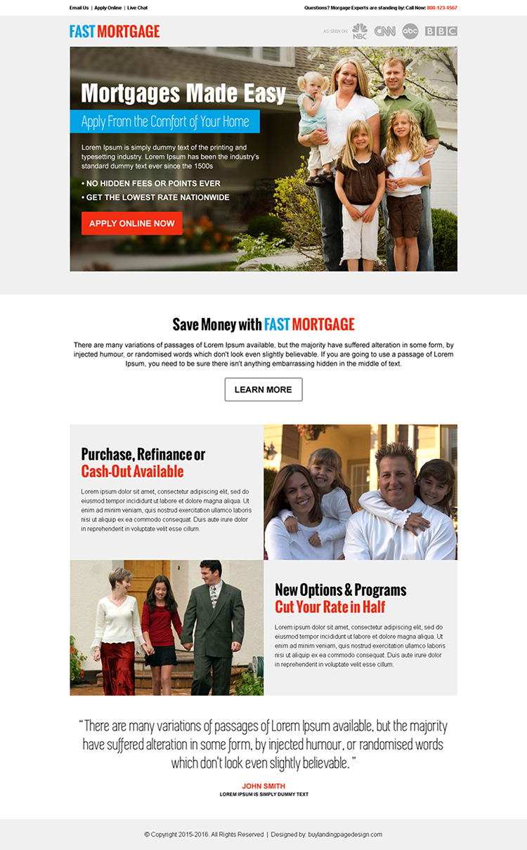 best mortgage service call to action pay per click landing page design