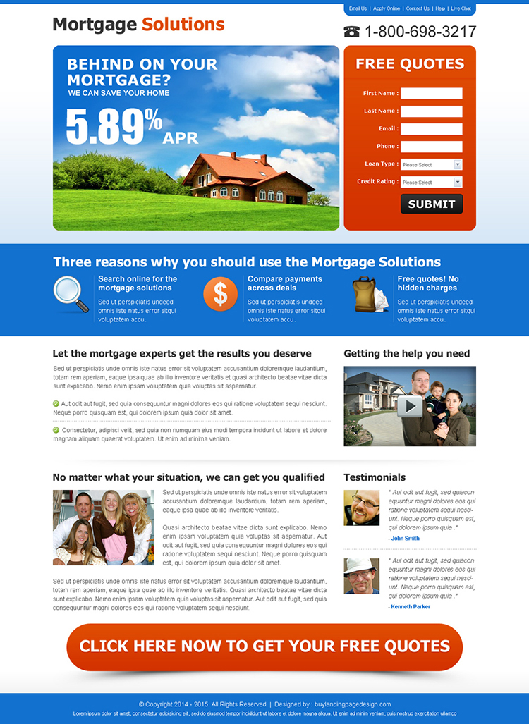 mortgage solution lead capture lander design