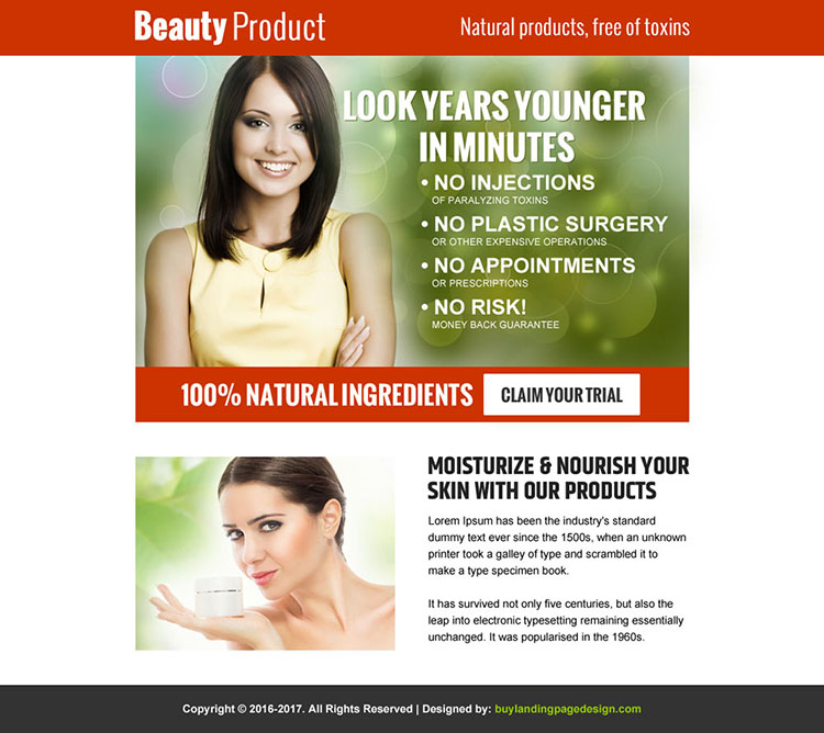natural beauty products ppv landing page