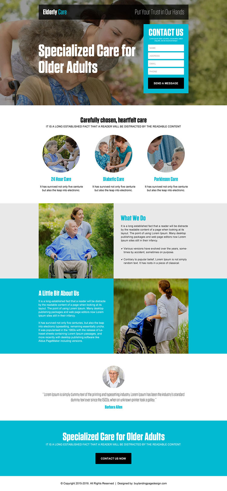 best converting older adults care lead capture landing page design