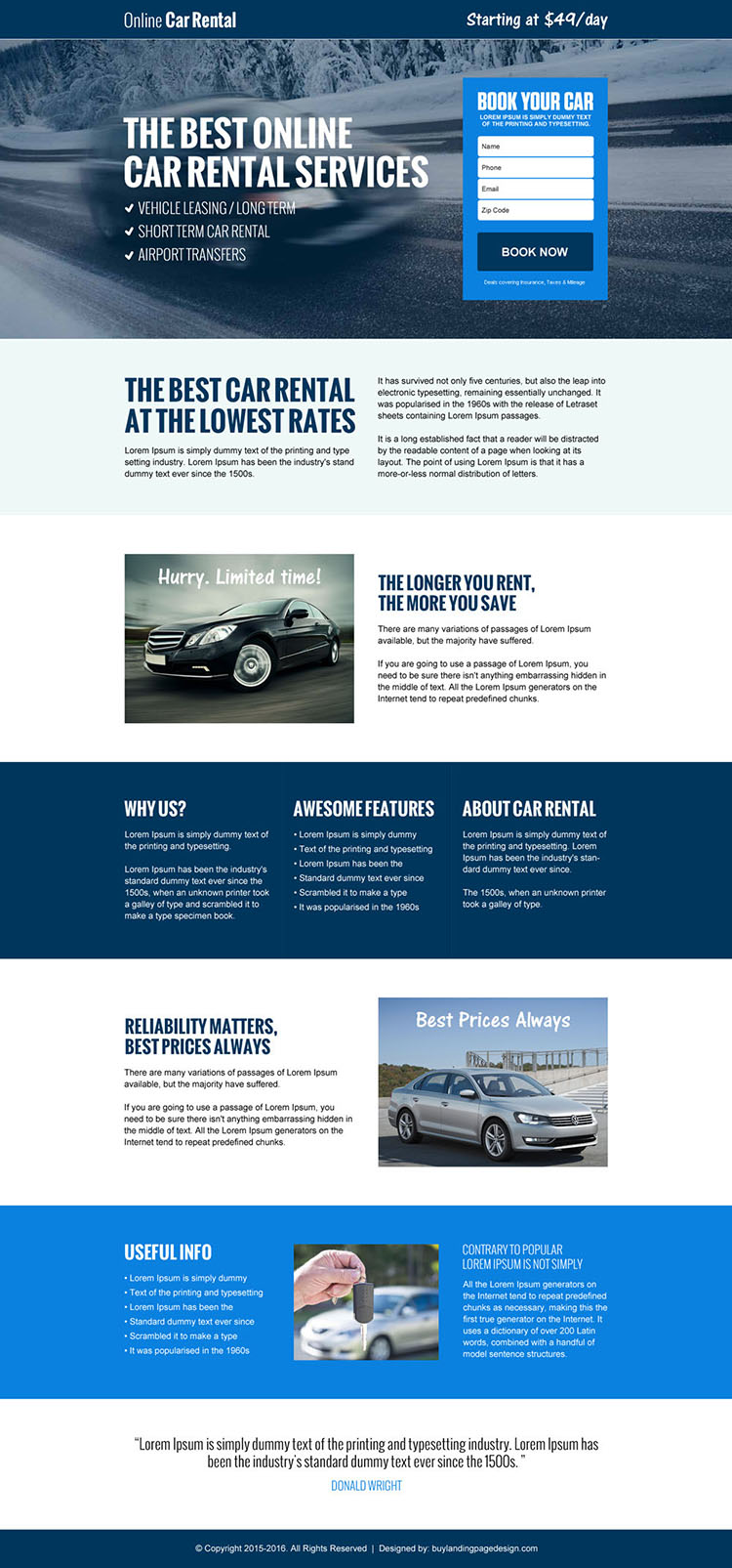 best online car rental service lead gen landing page design template