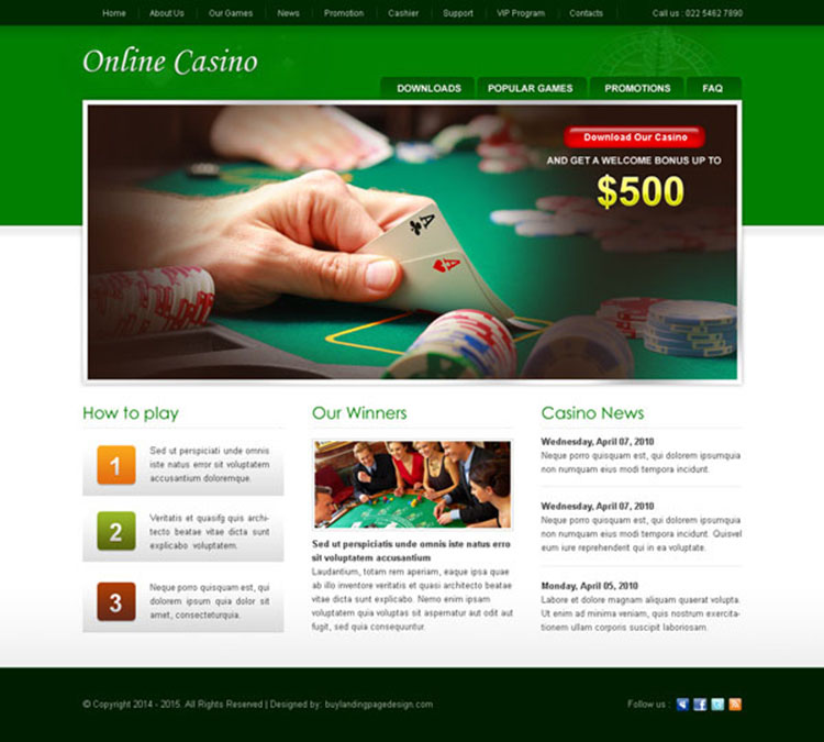 best online casino website template design psd to create your converting casino website