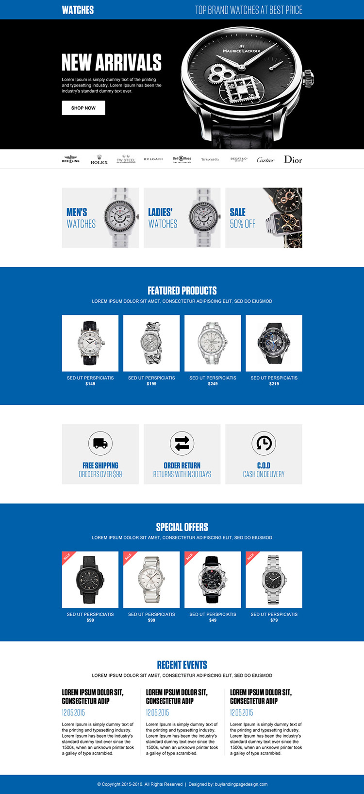 best online watch store ecommerce landing page design template