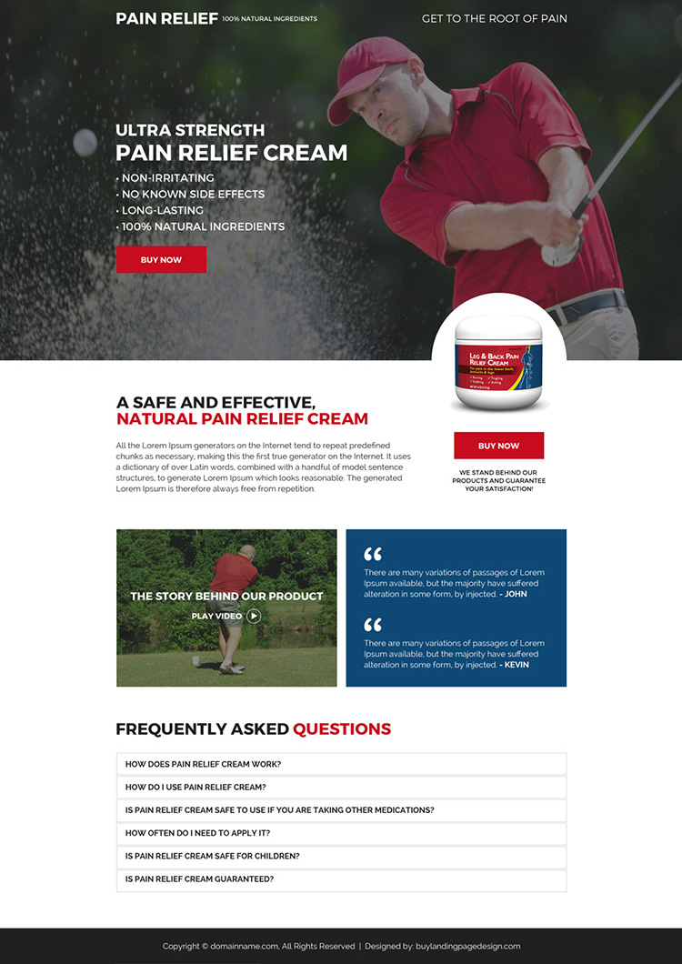 pain relief cream selling mini landing page design