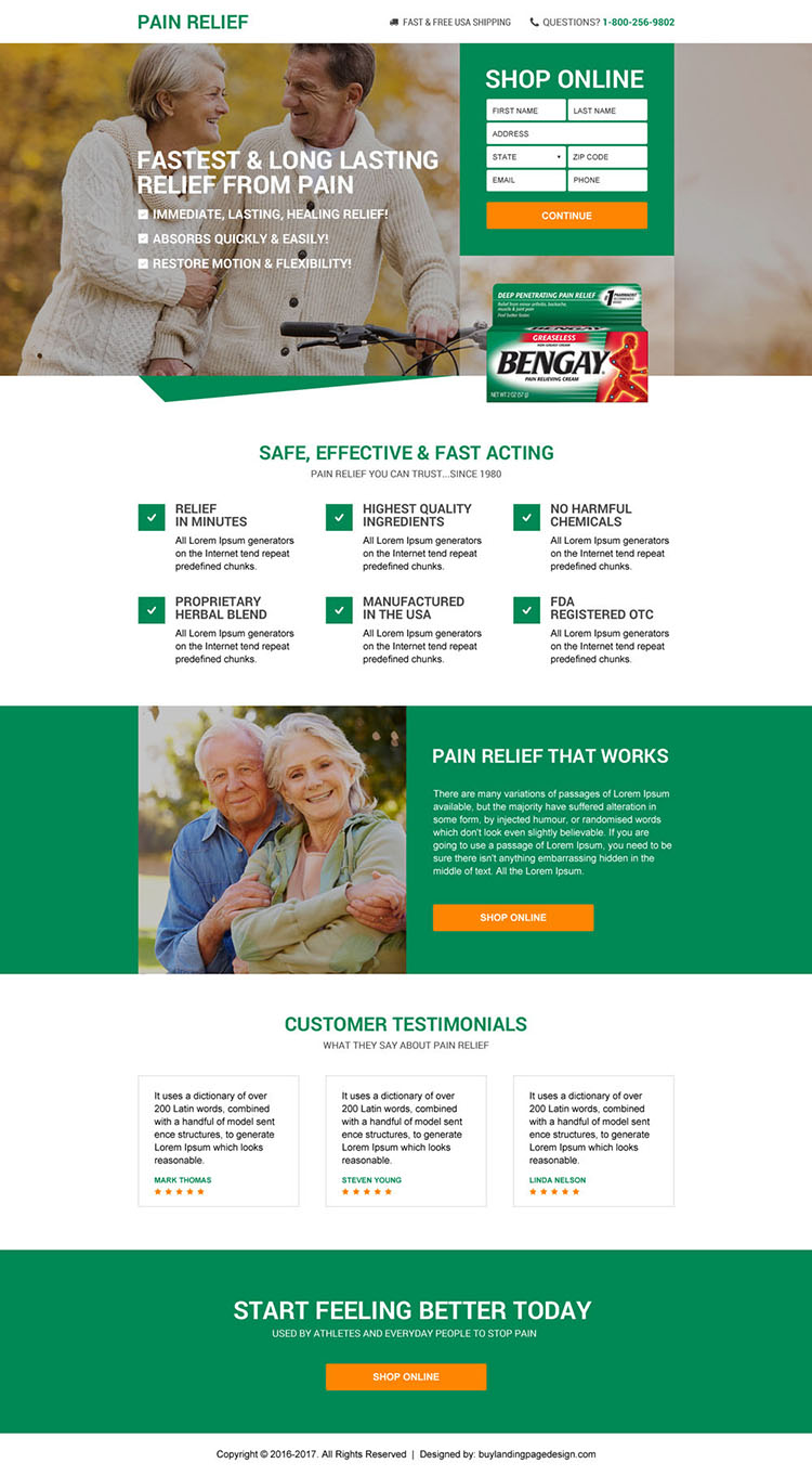 responsive best pain relief product selling landing page design