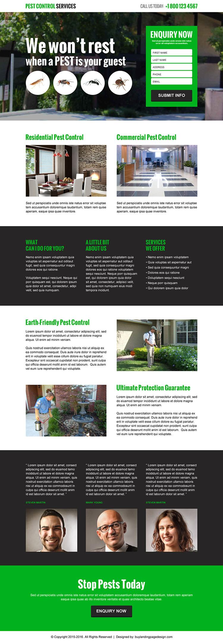 best pest control service lead gen landing page design template