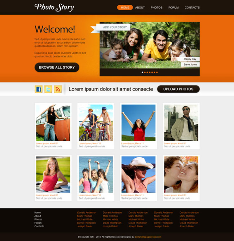 clean and professional website template psd design for photographers website