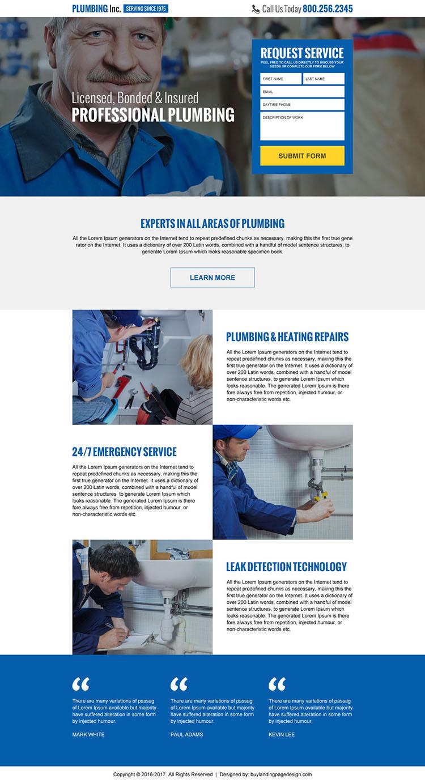 professional plumbing lead generating landing page