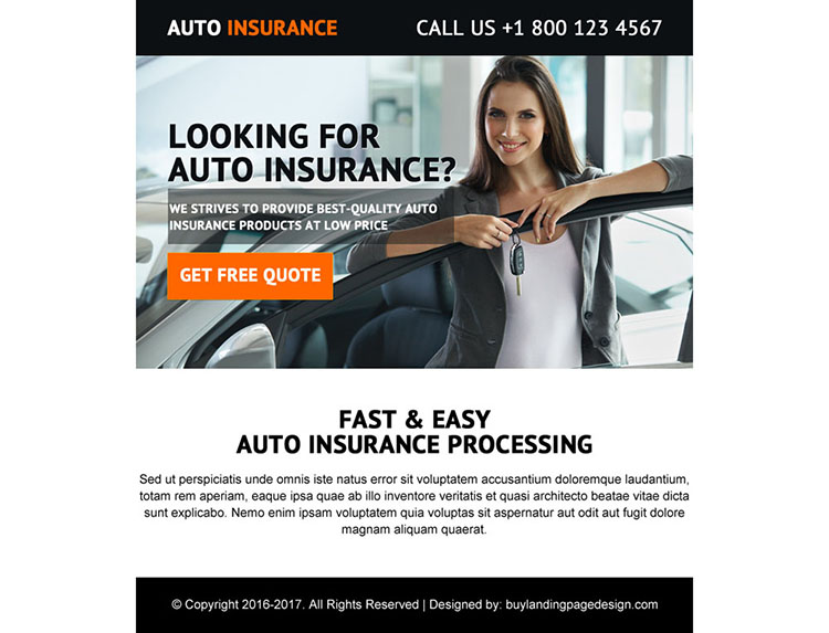 best quality auto insurance ppv landing page design