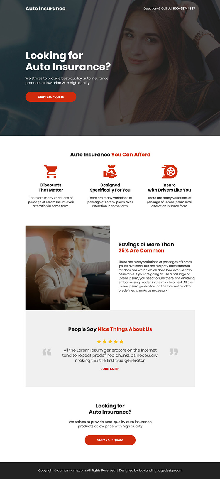 best quality auto insurance free quote capturing responsive landing page
