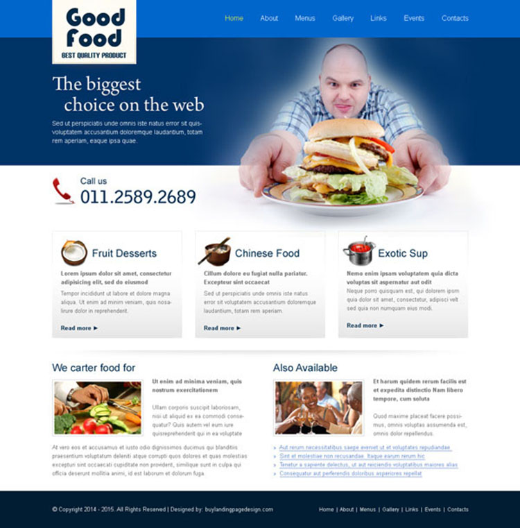 clean and converting best quality food product website template design