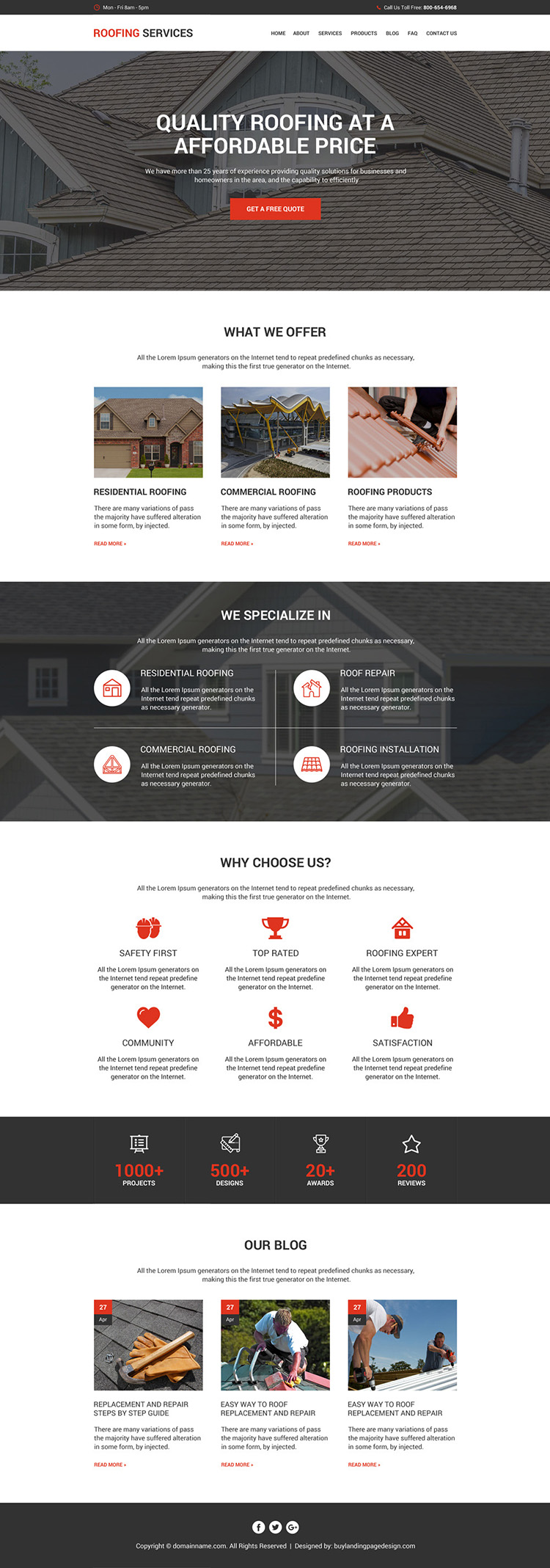 quality roofing service modern and clean website design