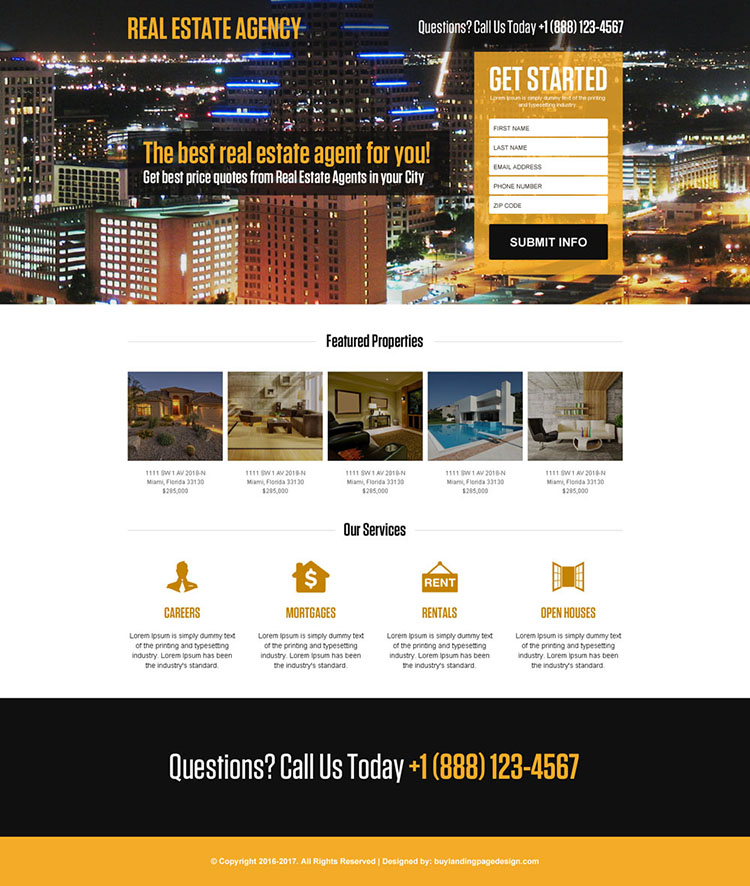 real estate agent mini responsive landing page design