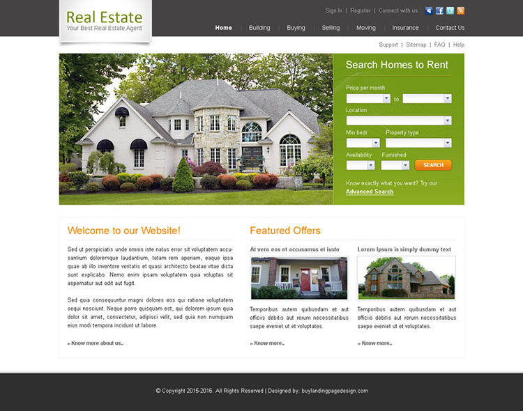 Best real estate agent design psd 008 website template for Best house buying websites