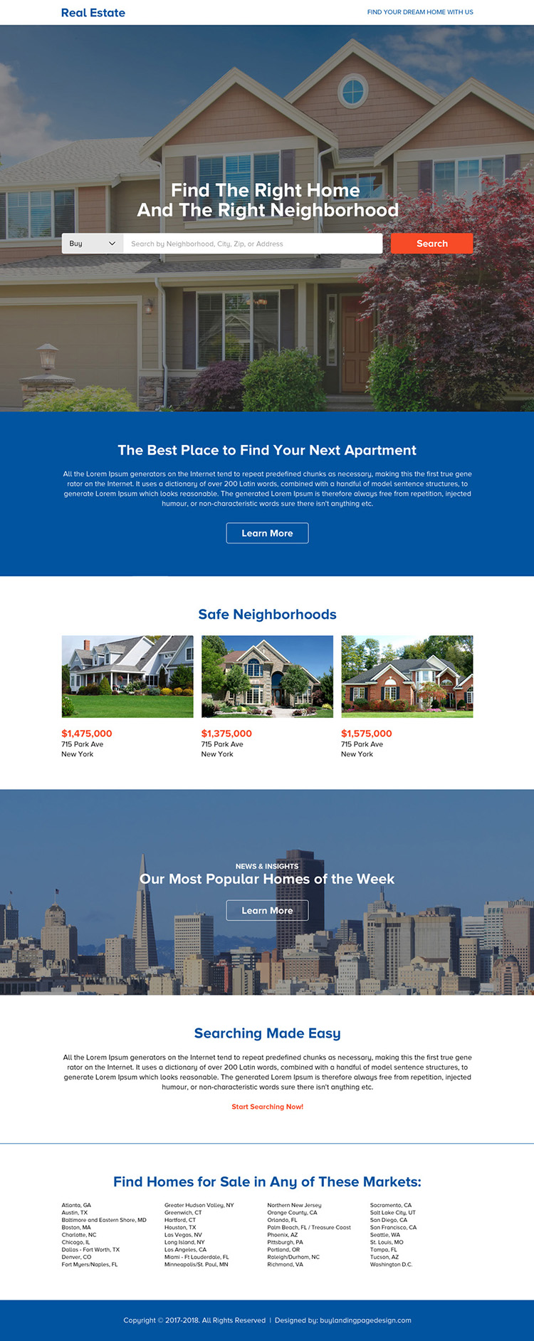 best real estate call to action landing page design