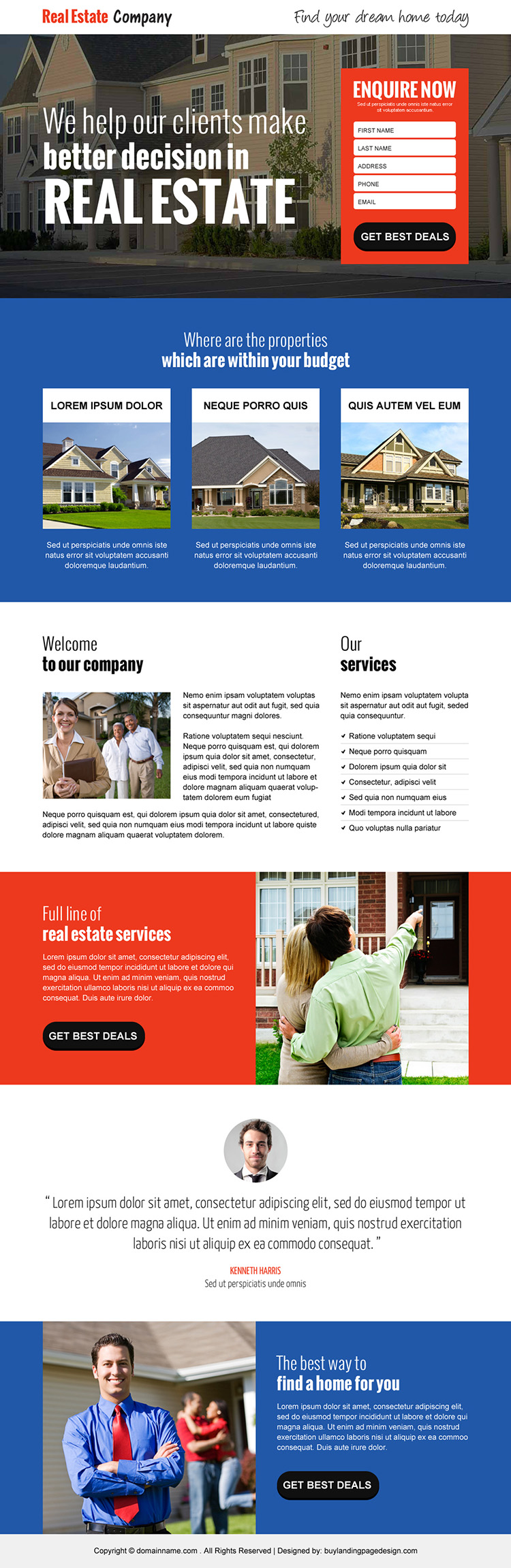 best real estate company responsive landing page design