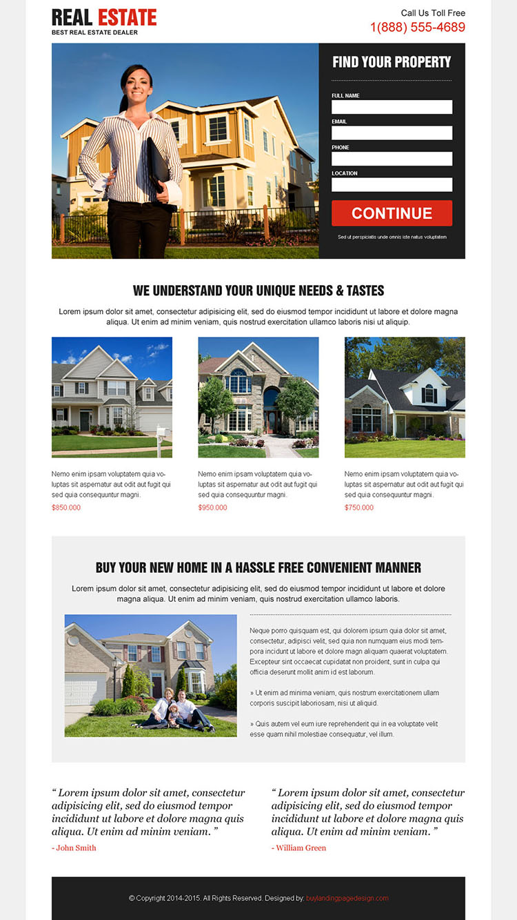 clean effective minimal and converting real estate lead capturing landing page