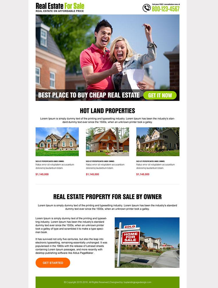 best real estate for sale landing page design