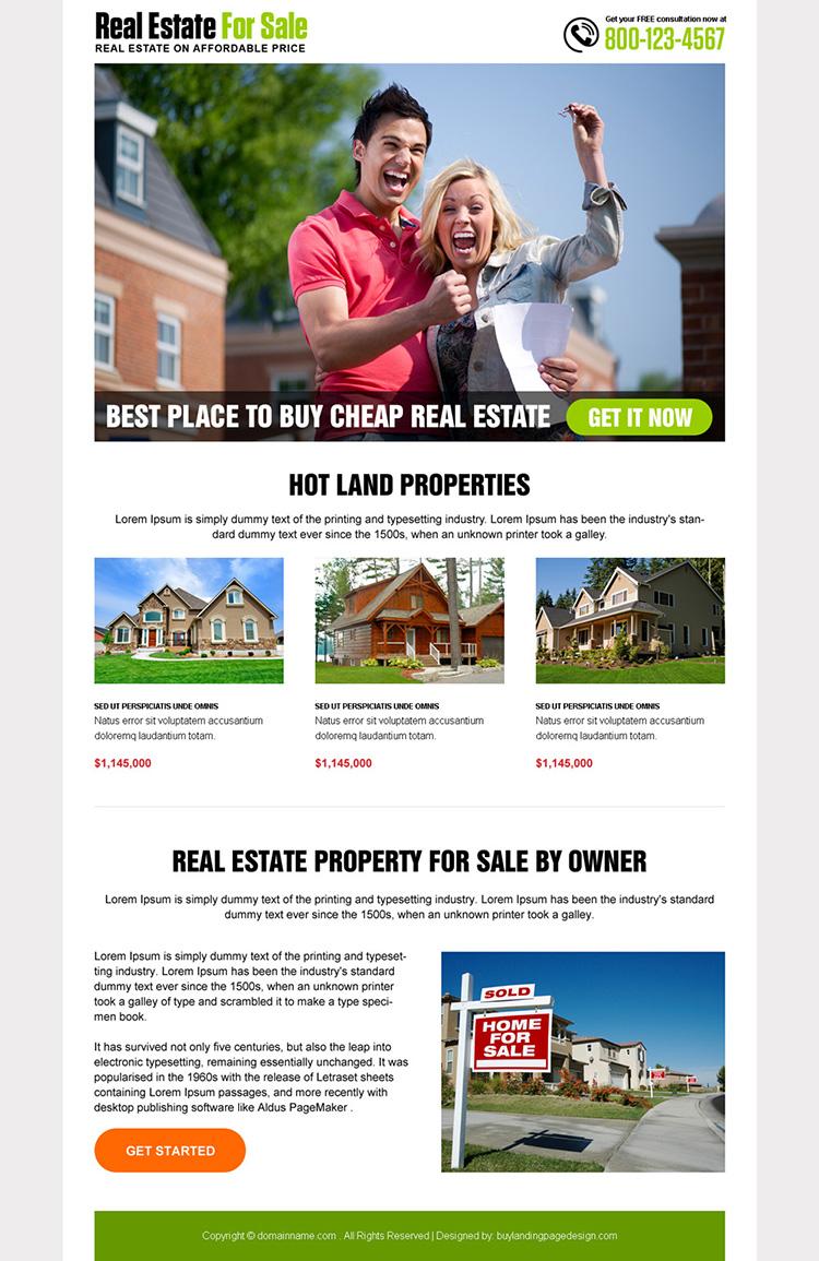best real estate listing responsive landing page design