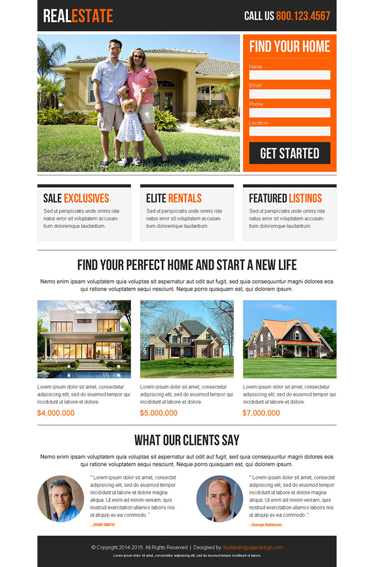 best real estate clean and appealing lead capture responsive landing page design