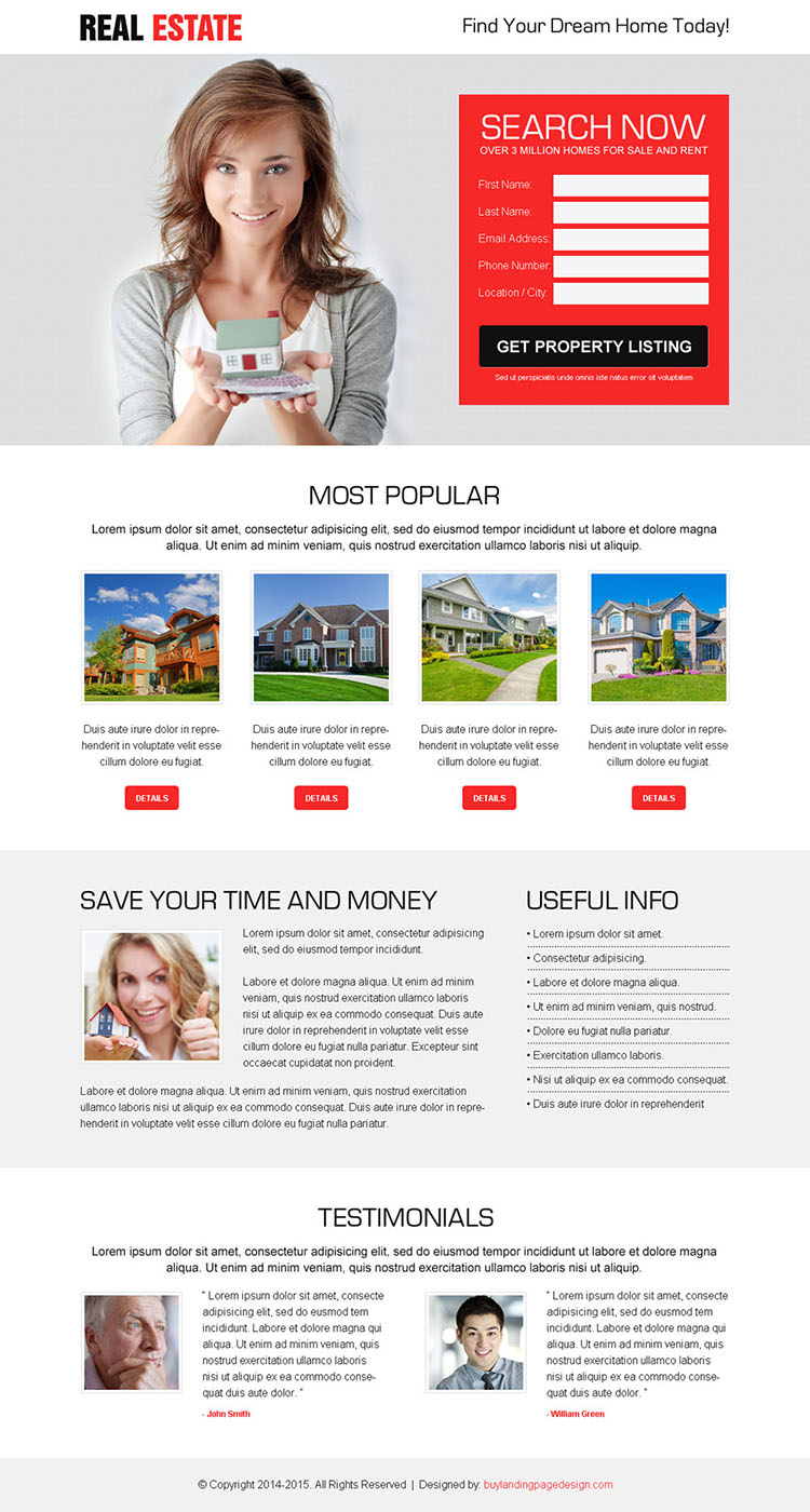 best real estate property listing clean and effective lead generating landing page design