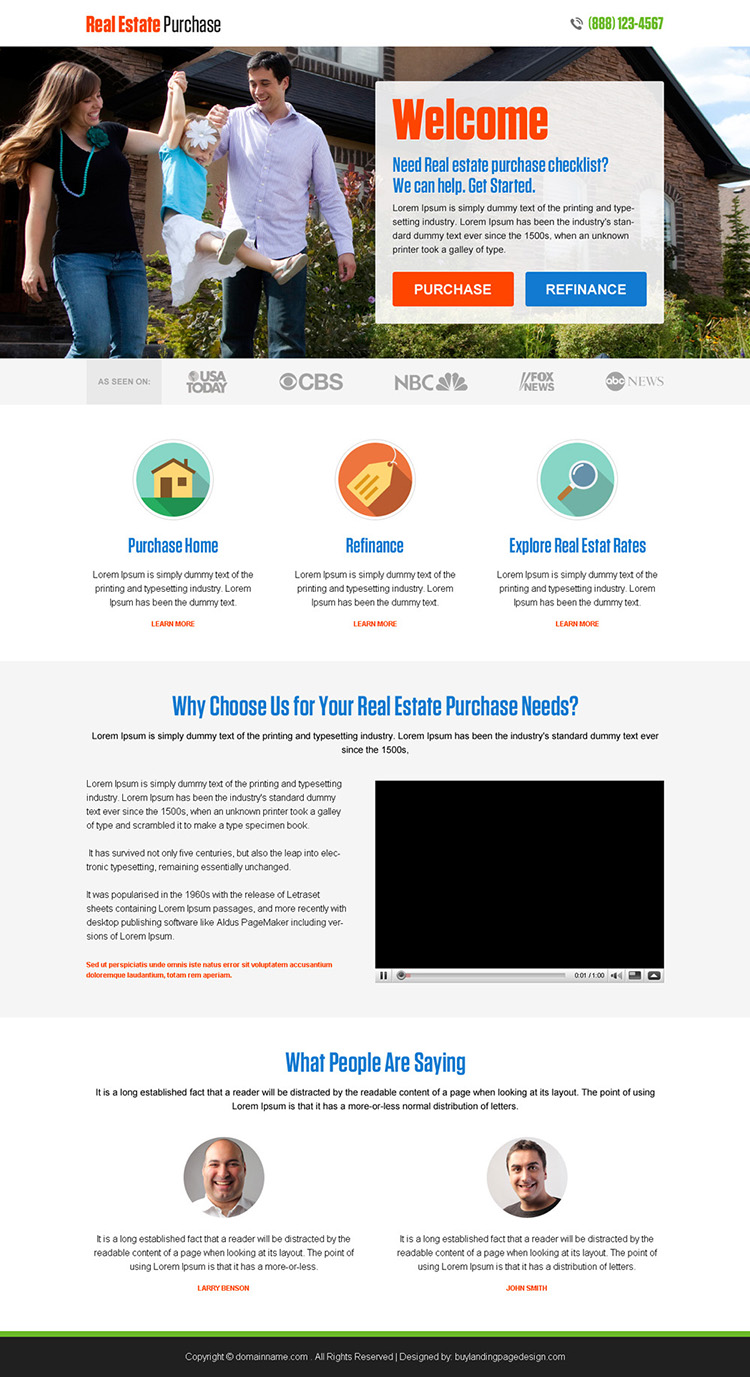 best real estate purchase and refinance responsive landing page