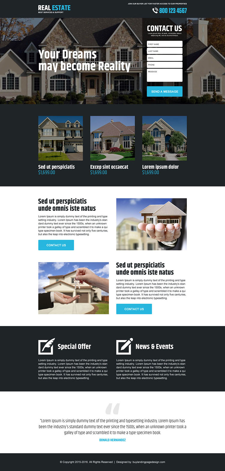best real estate service support landing page design