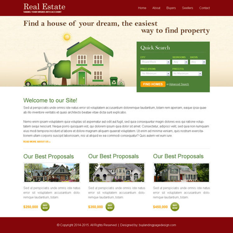 real estate quick search clean and user friendly website template design psd