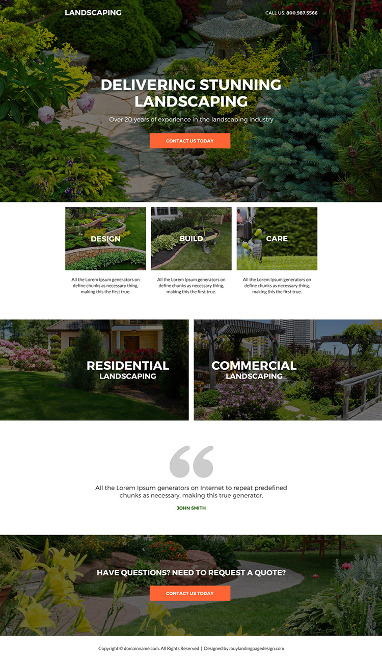 residential and commercial landscaping service responsive landing page