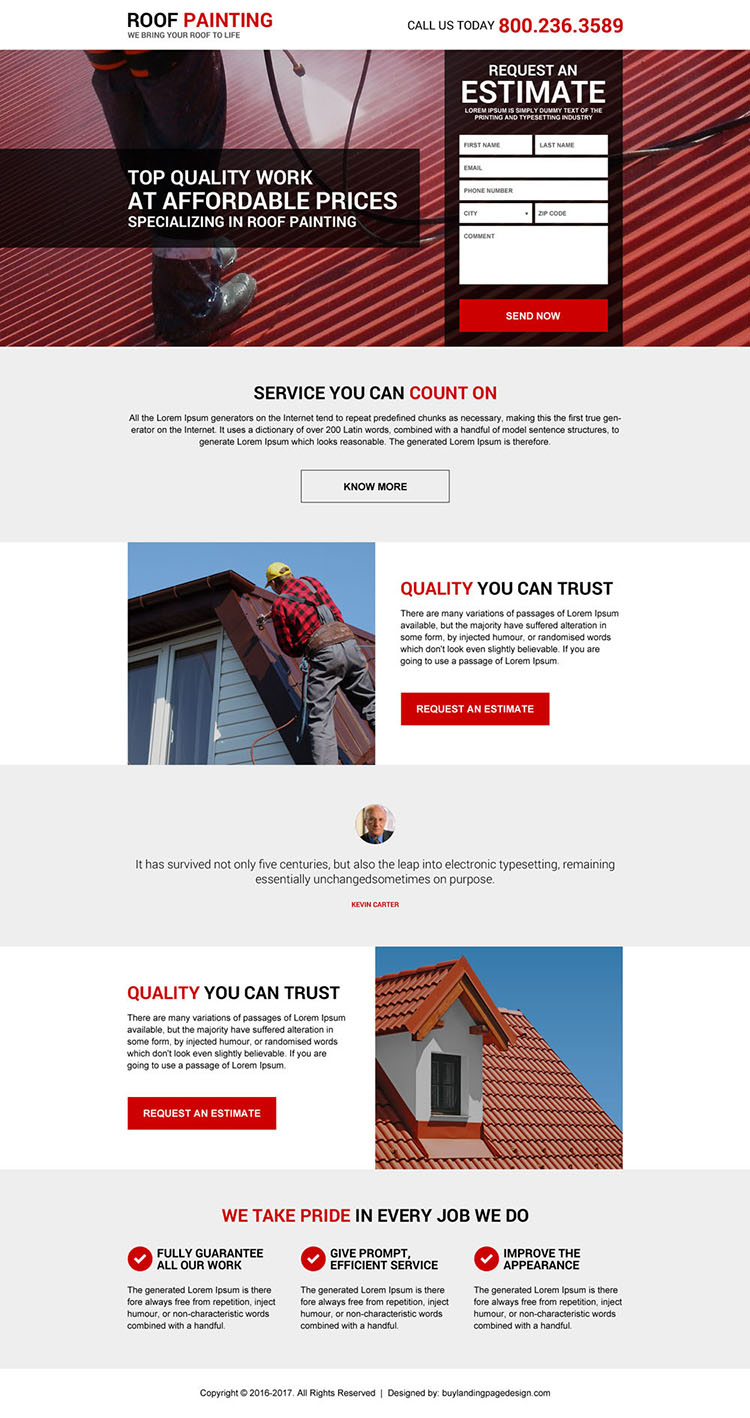 best roof painting service landing page design