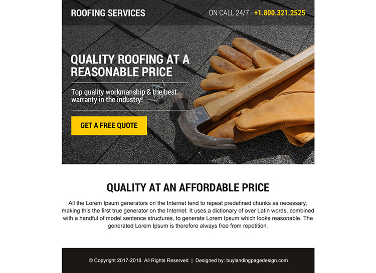 best roofing service ppv landing page design